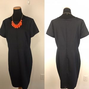 TALBOTS   Navy Polka Dot Sheath Career Dress 14
